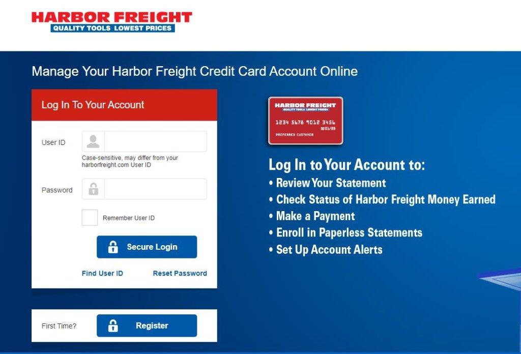 Harbor Freight Credit Card Login