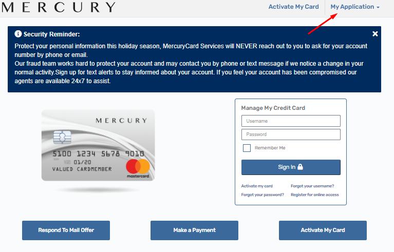 mercurycard login