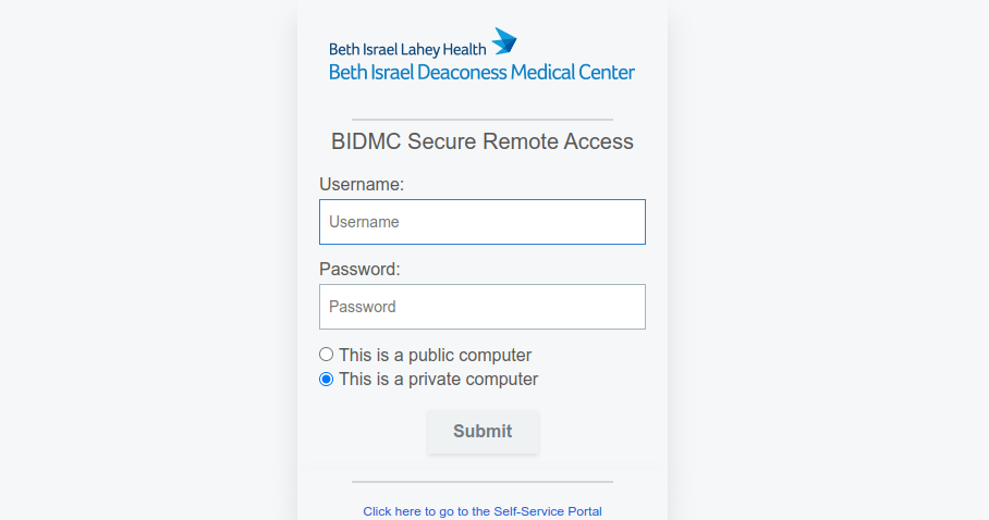 BidMC Portal Login